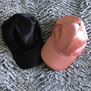 Two satin finish baseball caps - pink and black
